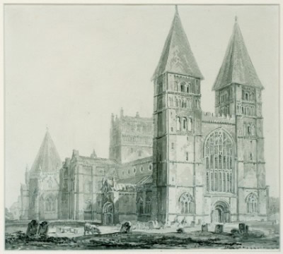 Southwell Minster from the North West, circa 1793. By J.M.W. Turner, R.A.