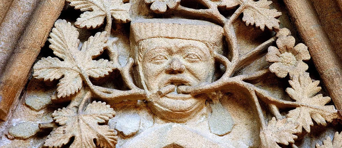 Green Man carving at the Chapter House, Southwell Minster