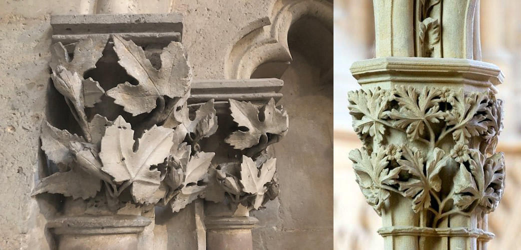 An example of stone leaves found in Naumburg Cathedral and in Southwell Minster
