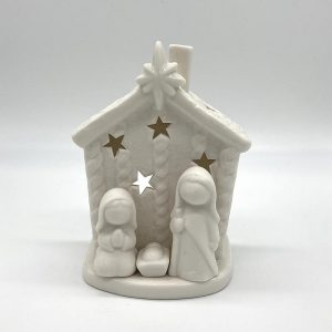 Ceramic House Nativity with tea light (battery)