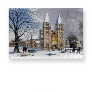 Christmas Card Southwell Minster in the Snow