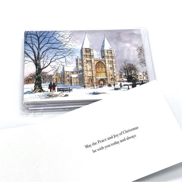 Christmas Card Southwell Minster in the Snow with greeting