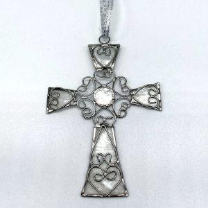 Fair Trade Capiz hanging Cross