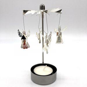 Silver tea light holder with revolving Angels