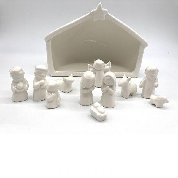 White Ceramic Nativity set