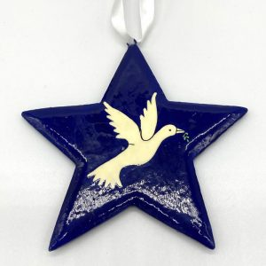 Fair trade hand painted blue Star-Dove decoration