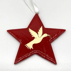 Fair trade hand painted red Star-Dove decoration