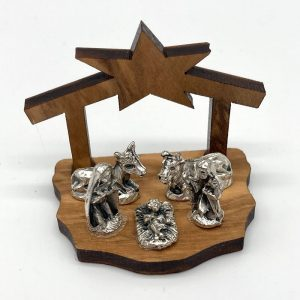 Mini Olive wood Nativity with fixed metal figures