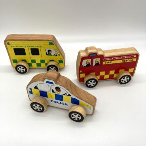 Ambulance, Police Car and Fire Rescue fair trade wooden toys 34