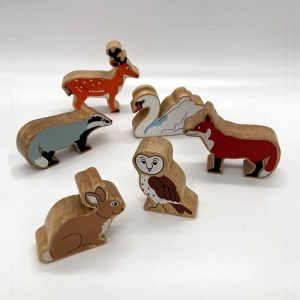 Group of birds and animals fair trade wooden toy 43a