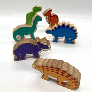 Group of dinosaurs fair trade wooden toy 42a