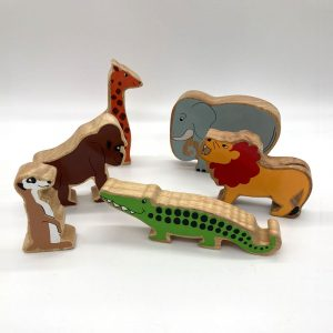 group of exotic animals fair trade wooden toy 44a